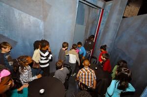Lightning Strike Kids Opera Company observes the set.