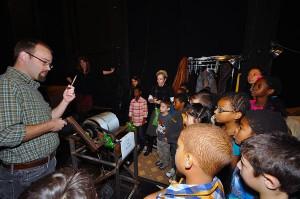 Jason demonstrates how the set revolves.
